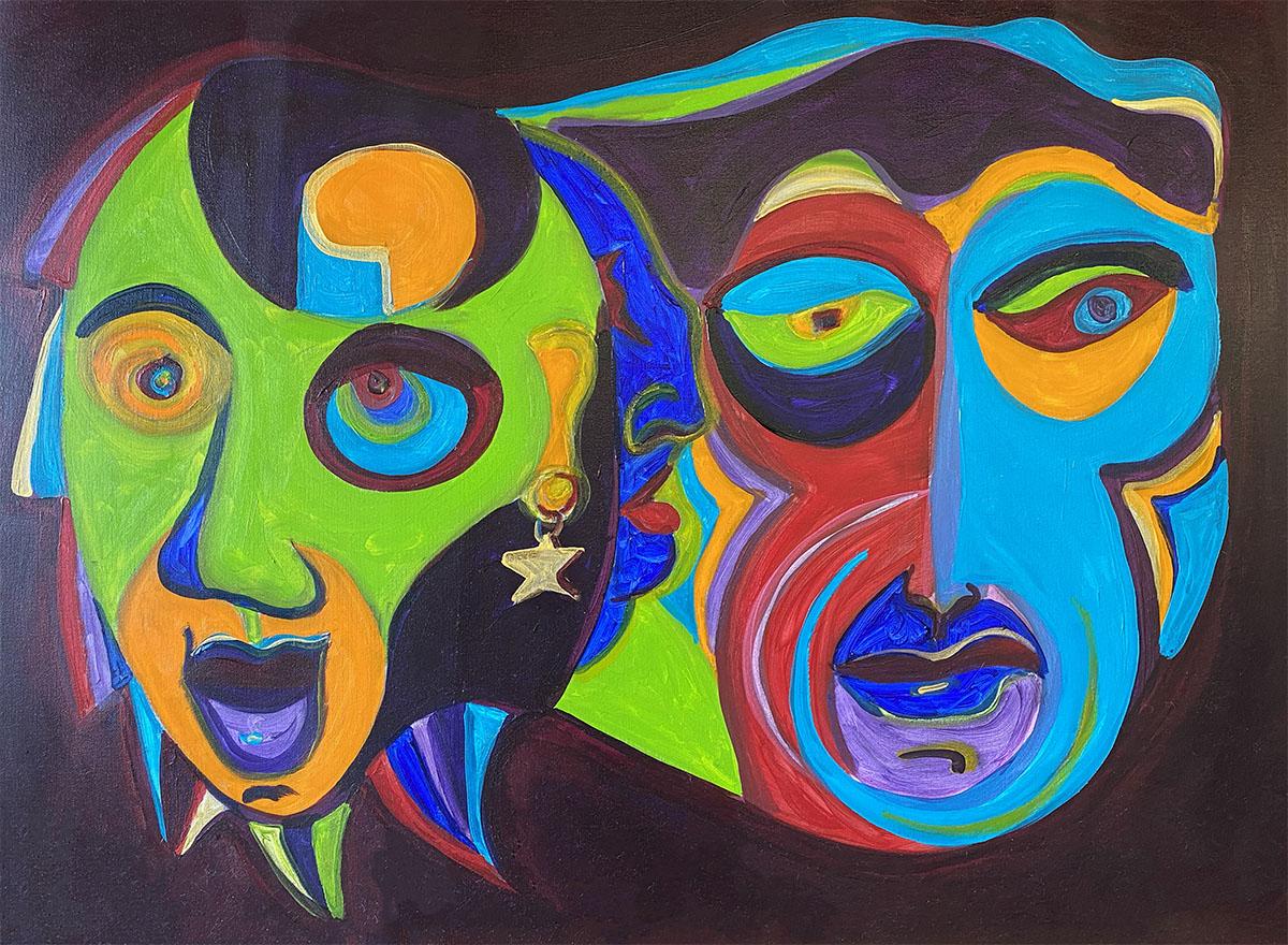 Masks No 1 acrylic 0900 Dick Crispo