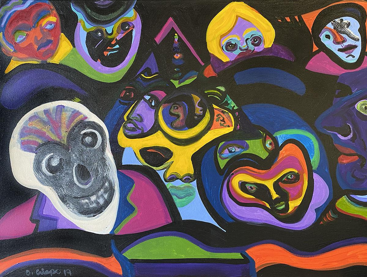 Masks No 3 acrylic 24x30 0902 Dick Crispo