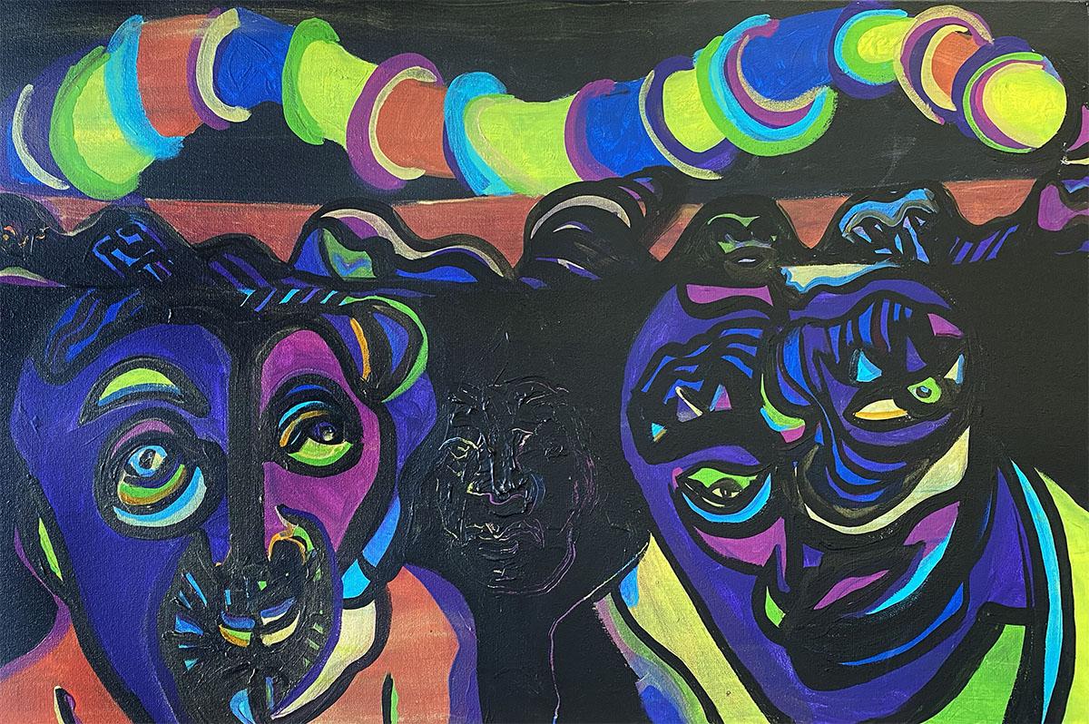 Masks No 5 acrylic 20x30 0906 Dick Crispo