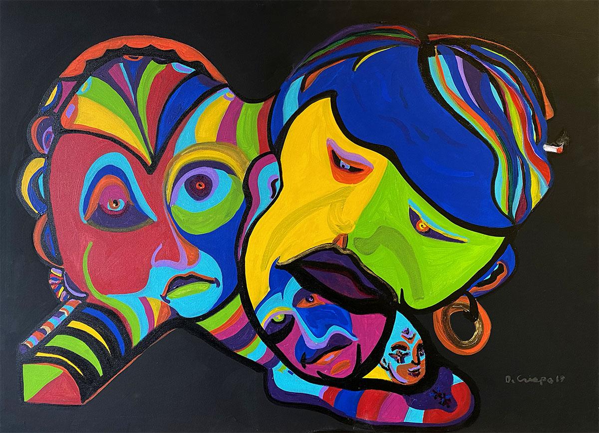 Masks No 7 acrylic 24x30_0908 Dick Crispo