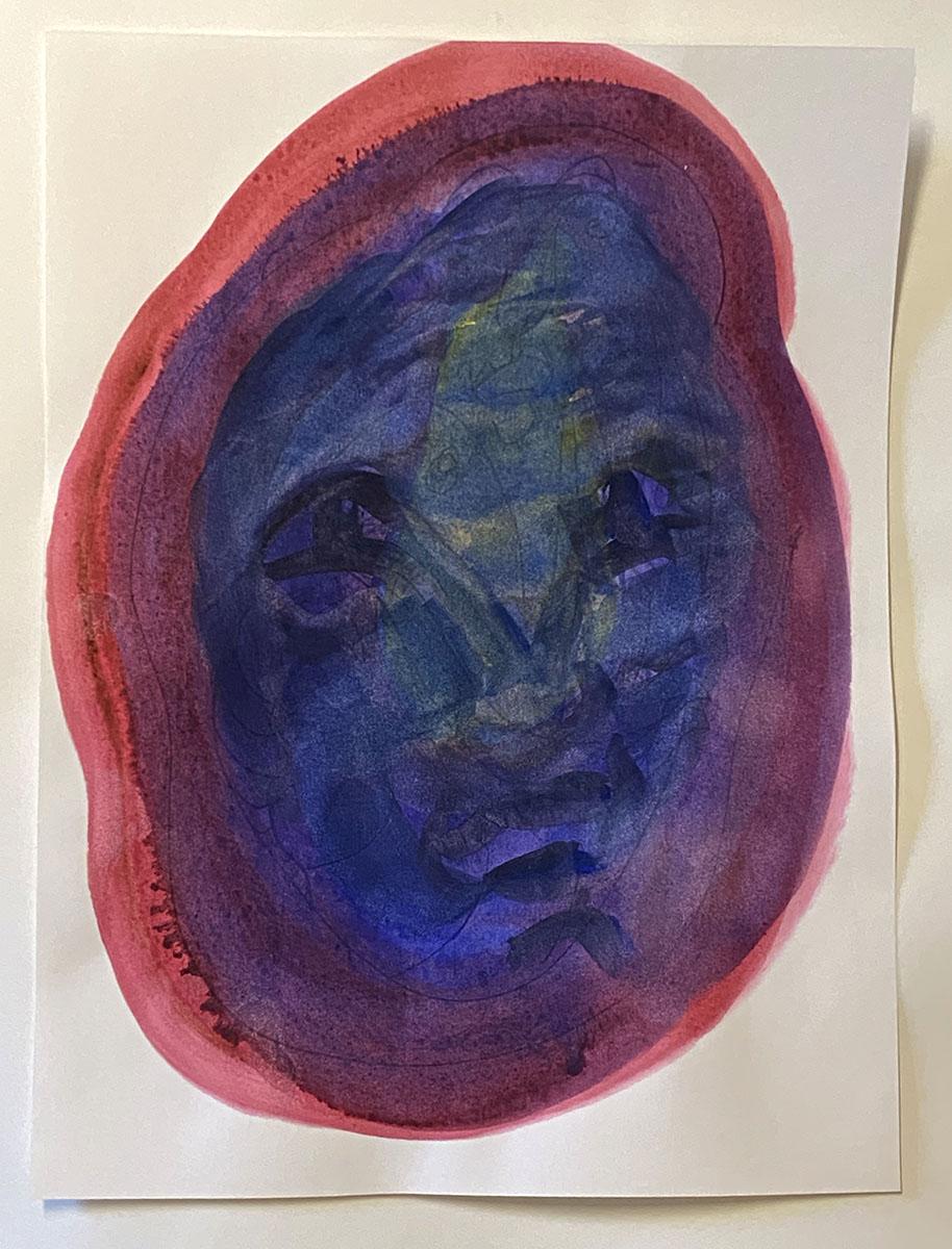Masks No 7 watercolor original 18x24 0850 Dick Crispo