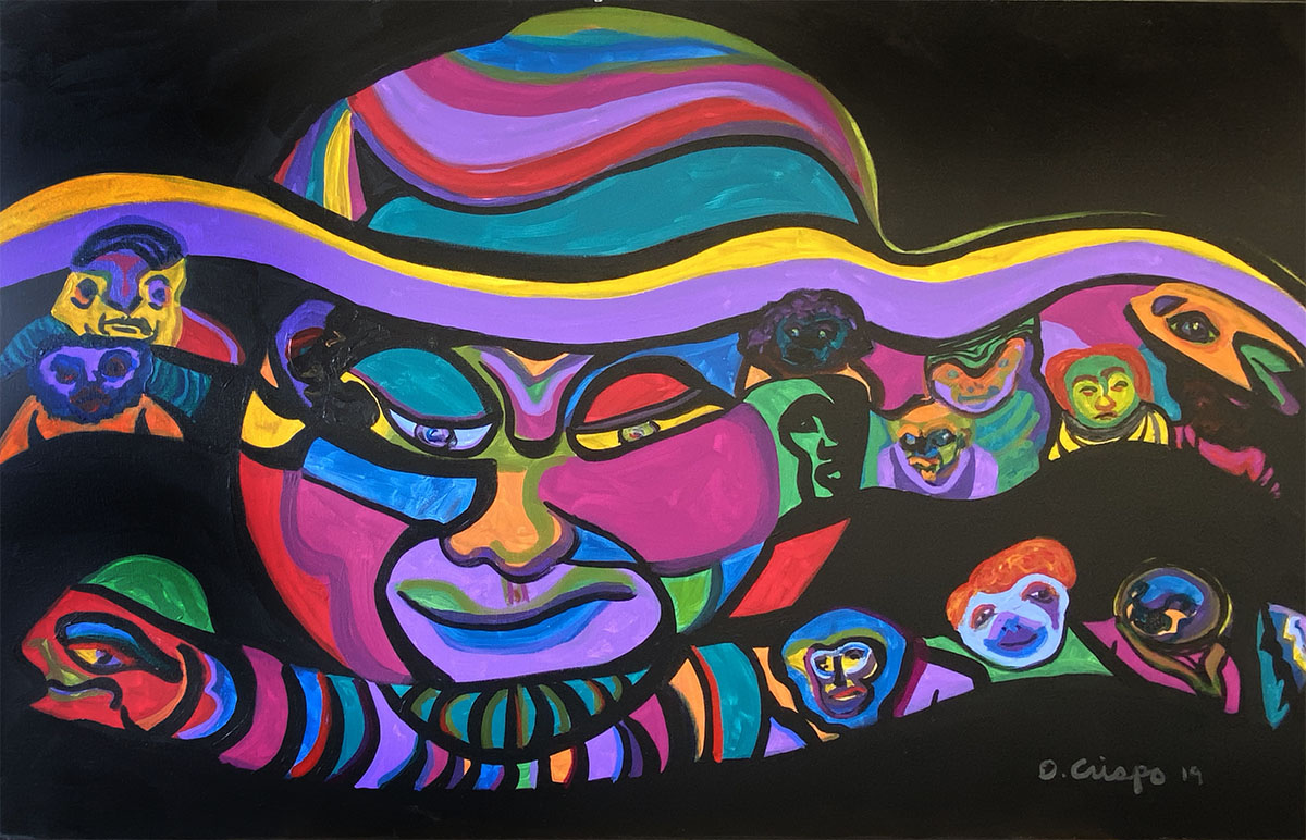 Masks No 8 acrylic 24x48_0910 Dick Crispo
