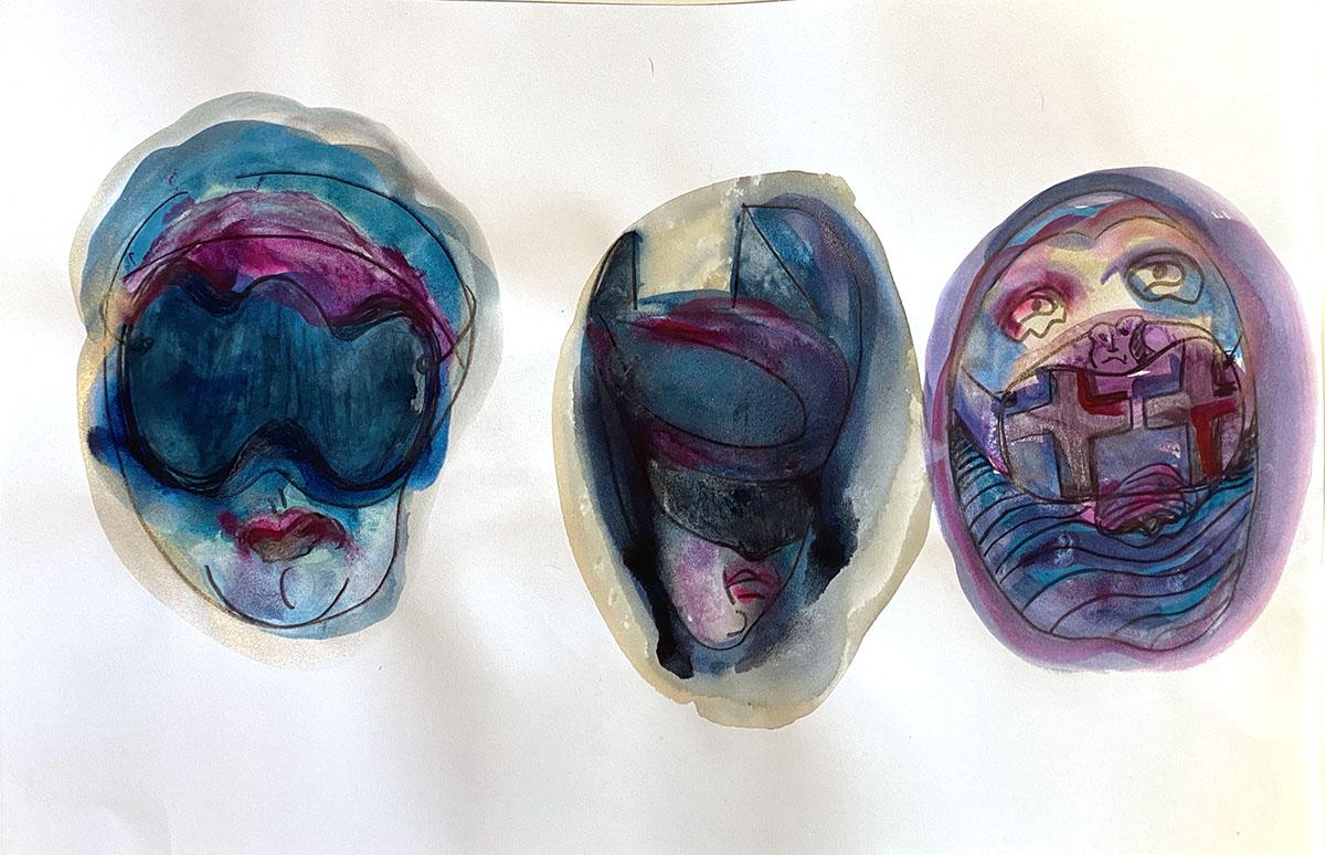 Masks No 8 watercolor original 18x24_0851 Dick Crispo