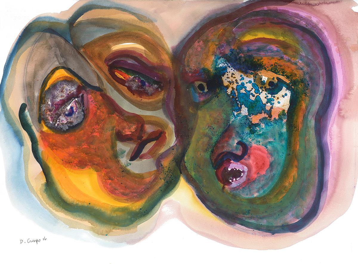 Masks Series No 1 watercolor 22x30_DSC0686 Dick Crispo
