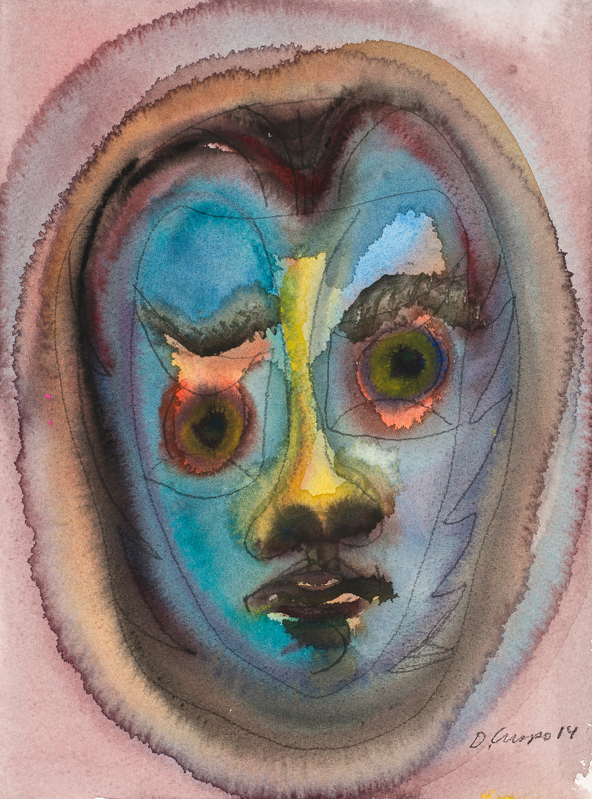 Masks Series No 14 watercolor 12x16_DSC4957 Dick Crispo