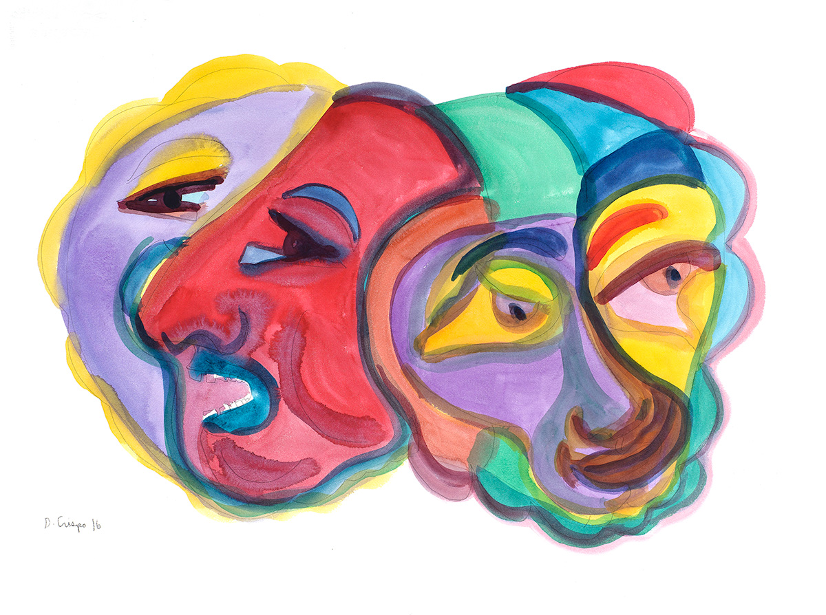 Masks Series No 2 watercolor 22x30_DSC0685 Dick Crispo