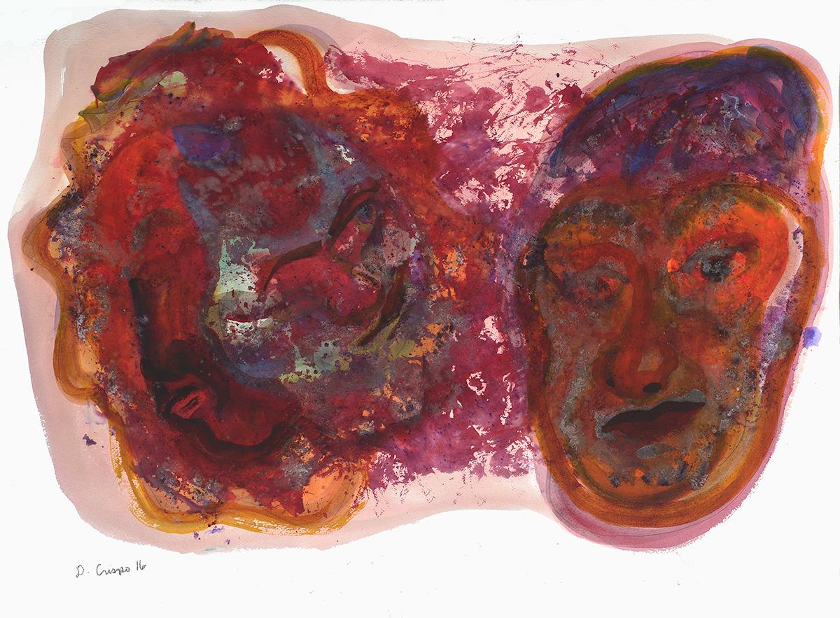 Masks Series No 3 watercolor 22x30_DSC0687 Dick Crispo
