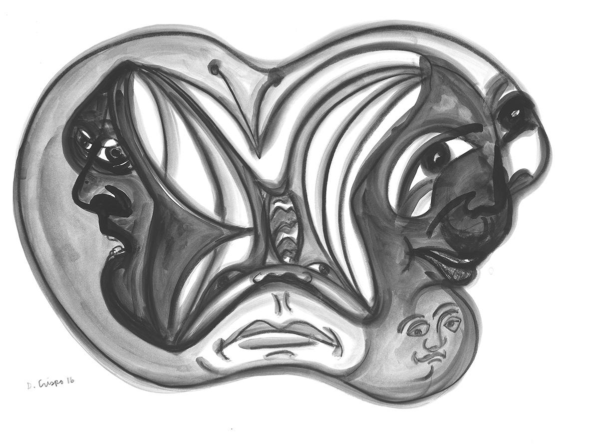 Masks Series No 4 graphite 22x30_DSC0683 Dick Crispo