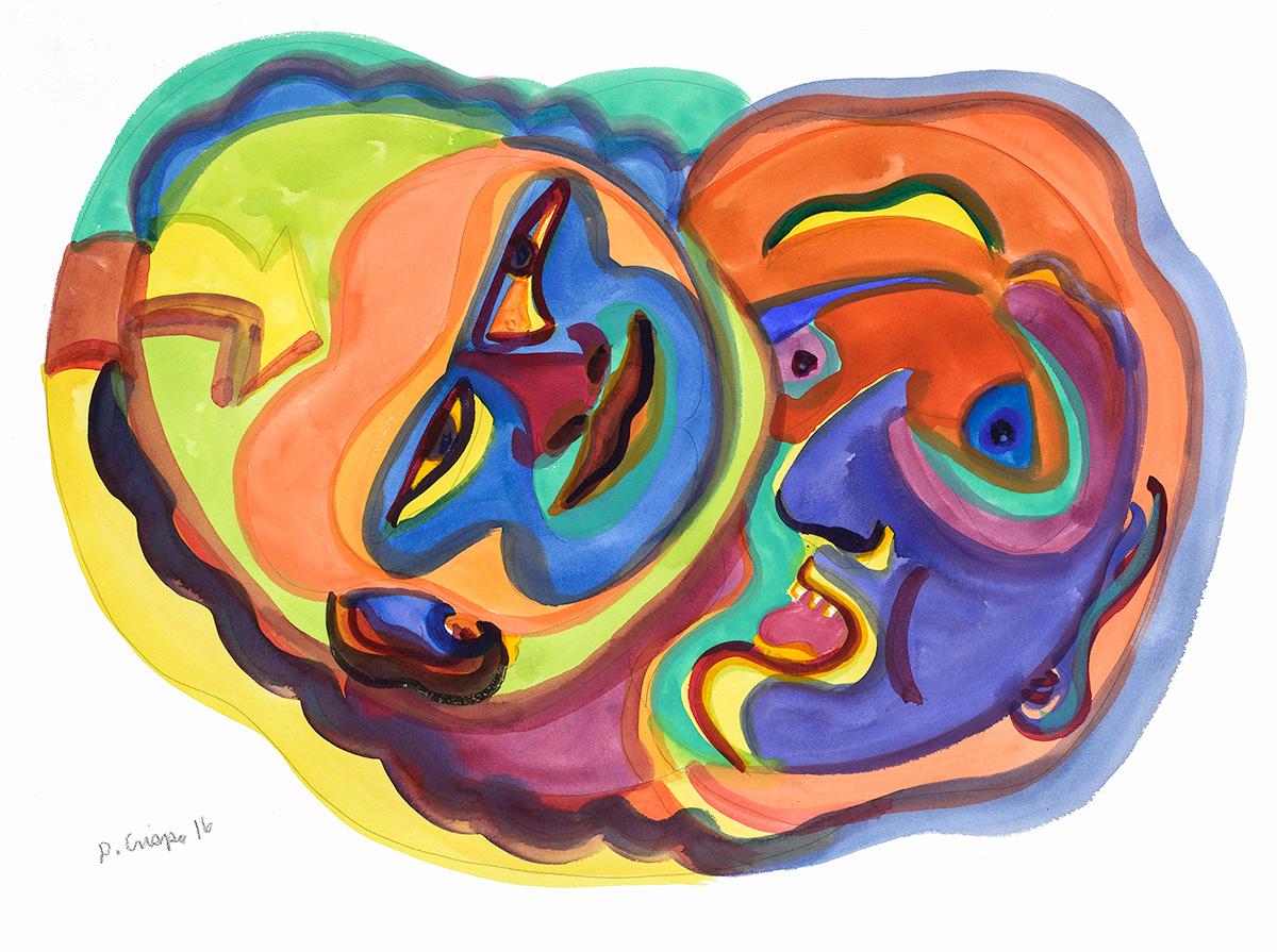 Masks Series No 4 watercolor 22x30_DSC0688 Dick Crispo