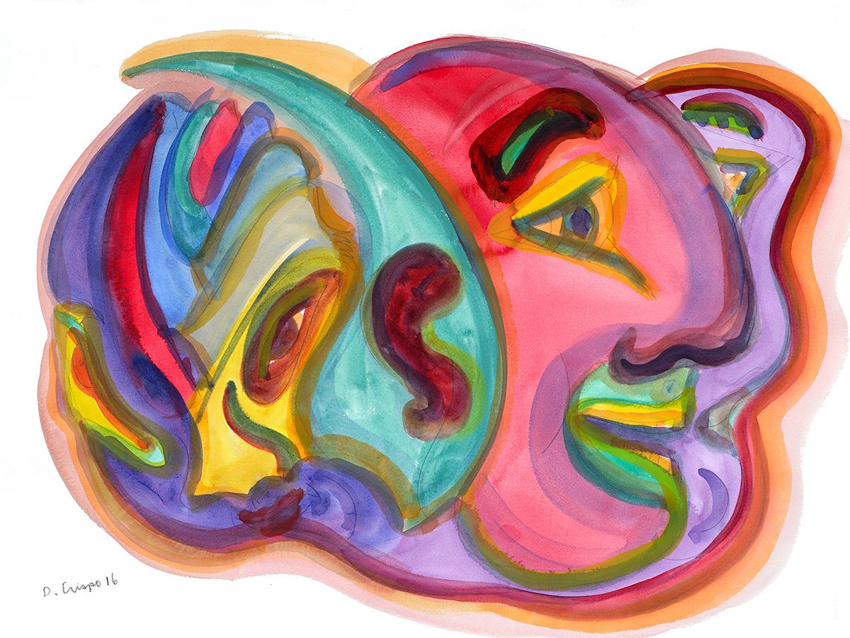 Masks Series No 5 watercolor 22x30_DSC0684 Dick Crispo