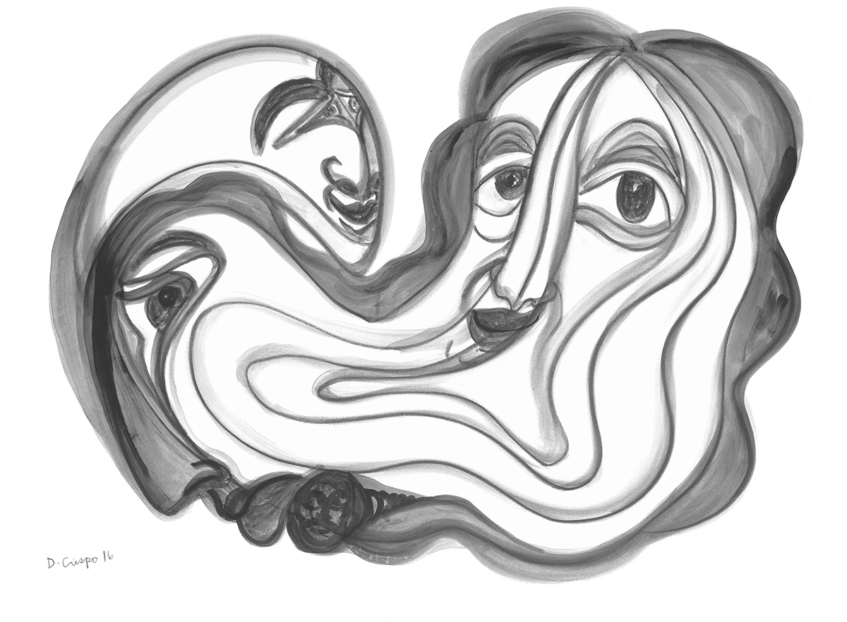 Masks Series No 6 graphite 22x30_DSC0672 Dick Crispo