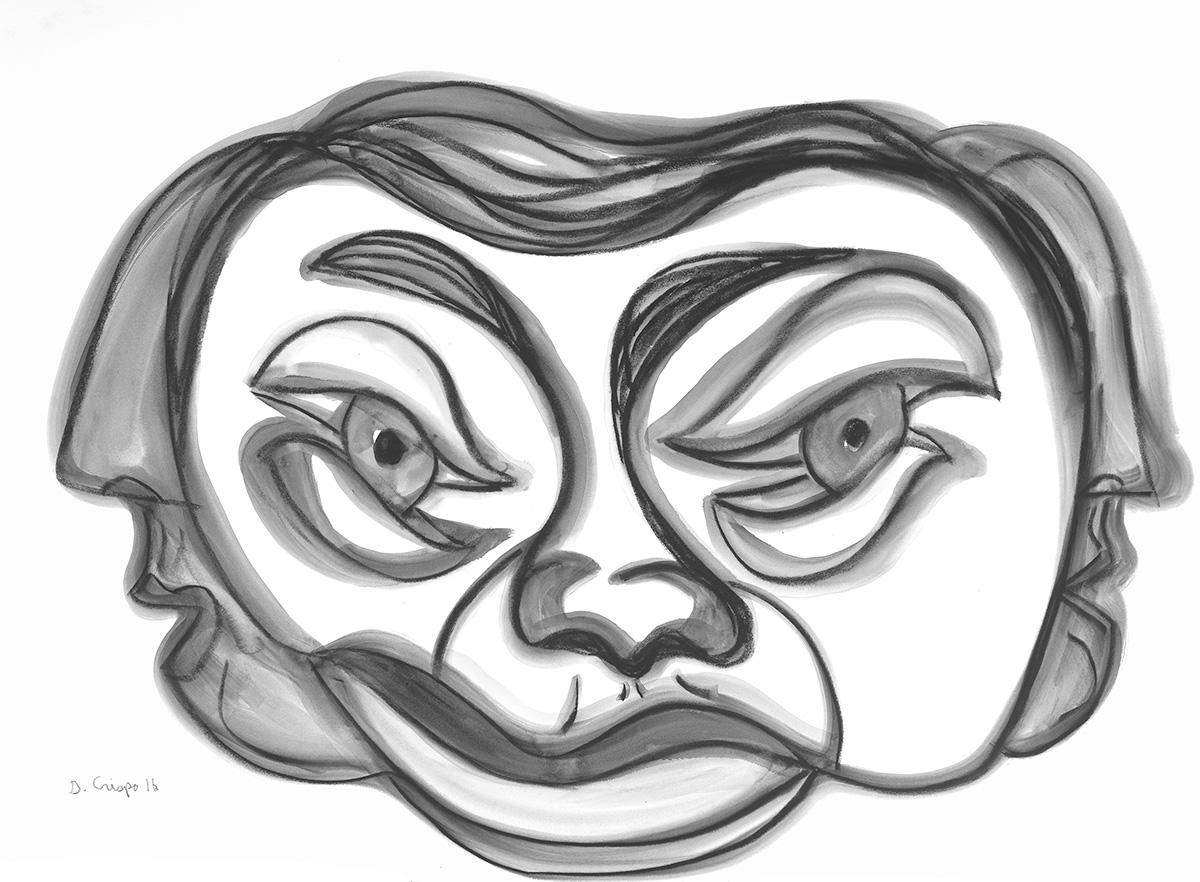 Masks Series No 8 graphite 22x30_DSC0682 Dick Crispo