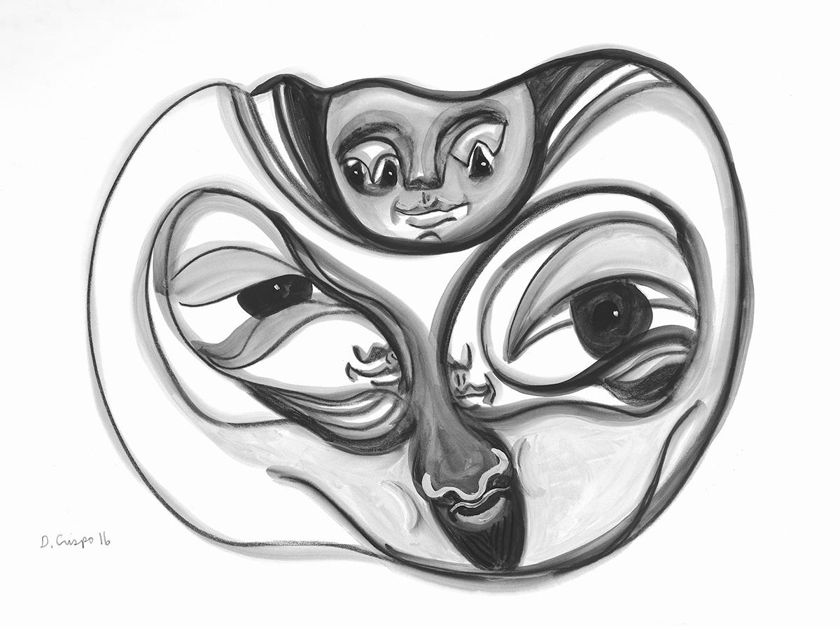 Masks Series No 8 graphite 22x30_DSC0689 Dick Crispo