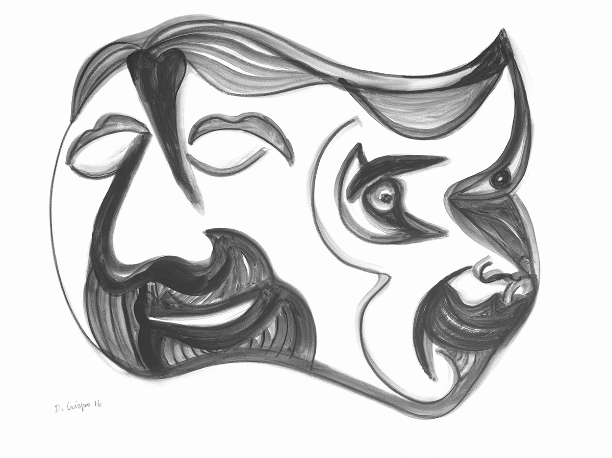 Masks Series No 9 graphite 22x30_DSC0673 Dick Crispo