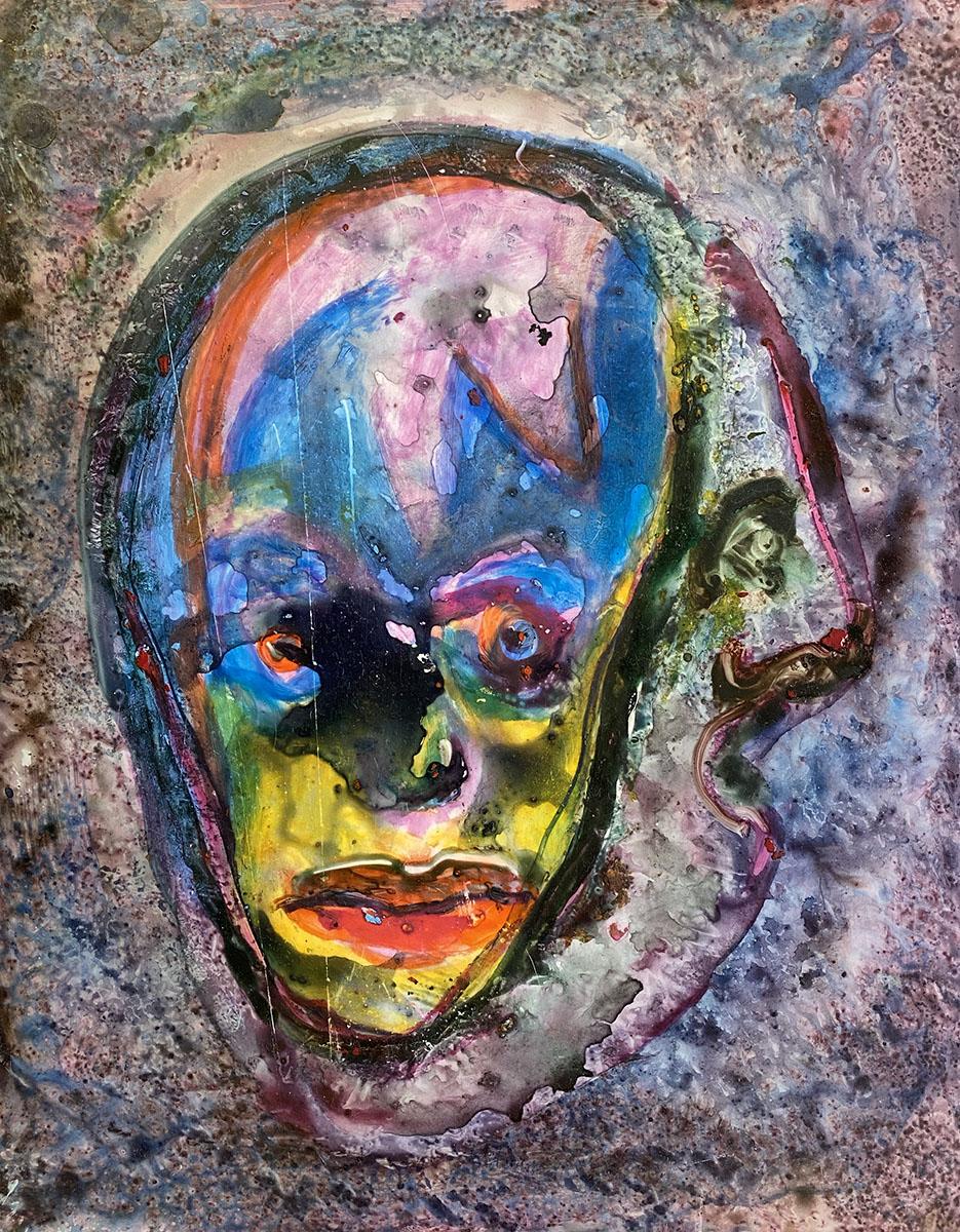 Mexican Masks No 3 watercolor Yupo 0879 Dick Crispo