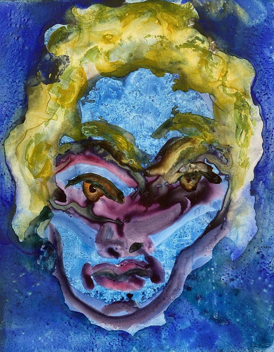 Mexican Masks watercolor No 4 9x12 0880 Dick Crispo