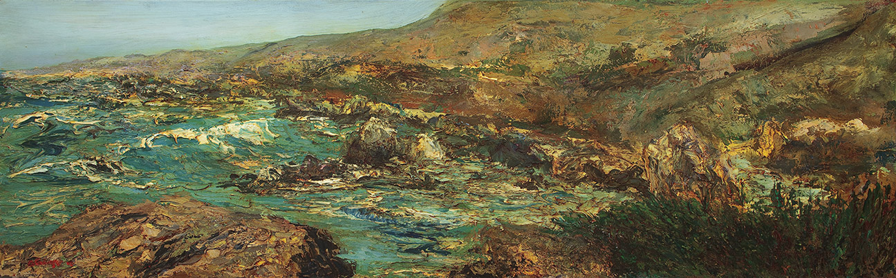 Oil Seascape 6x24 Garrapata giclee Dick Crispo
