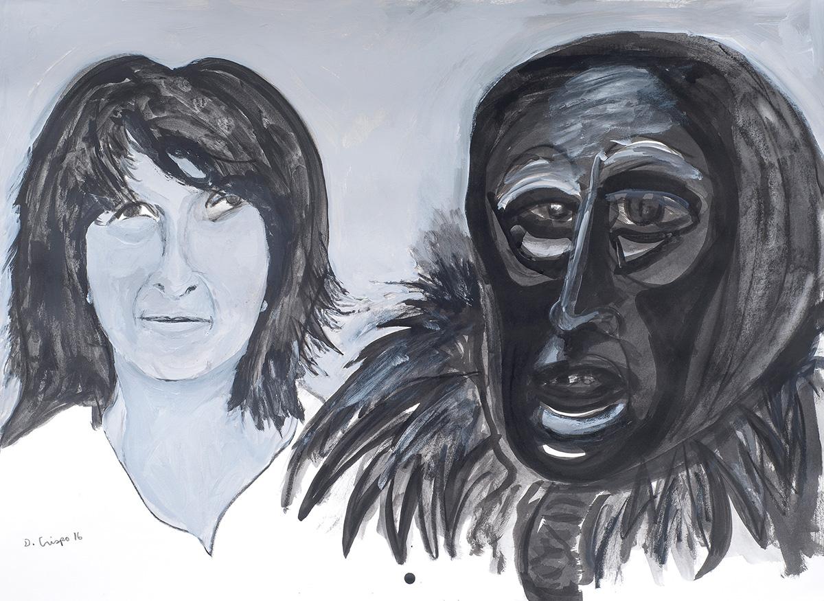mixed-media-art-Sardinian-Forms ink and acrylic 22x30 Dick Crispo