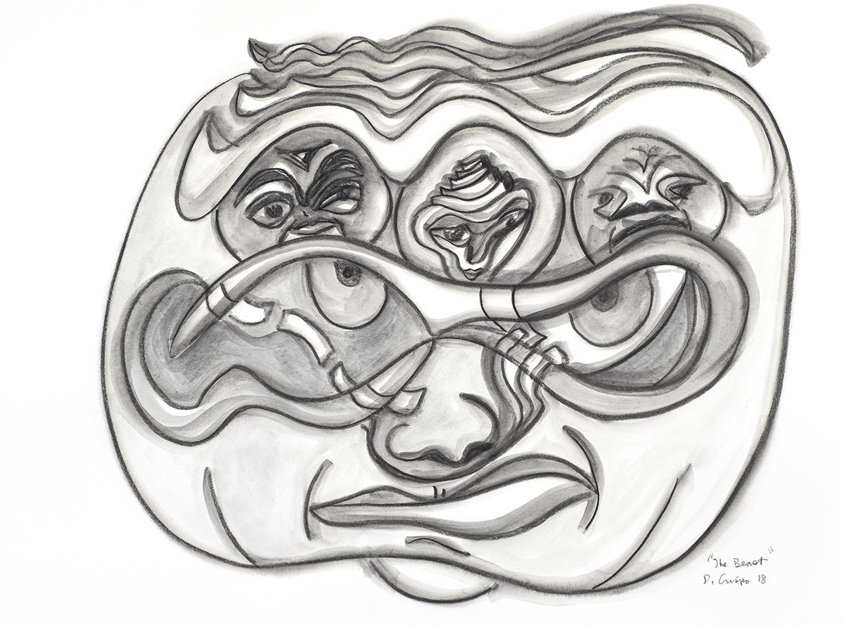 The Beast Mask graphite artwork by Dick Crispo