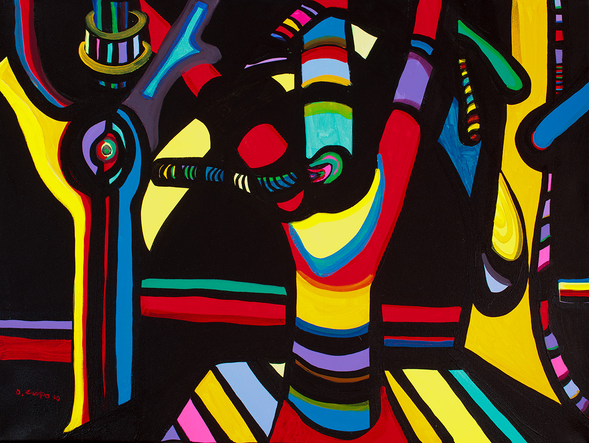 Trees No 6 acrylic original Dick Crispo