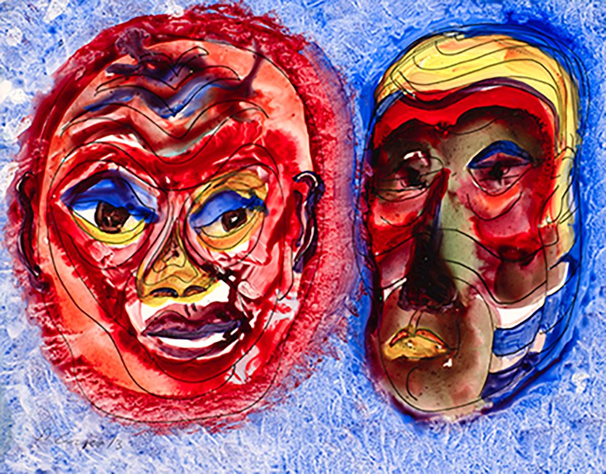 Two Masks giclee 18x24 DSC2073 Dick Crispo
