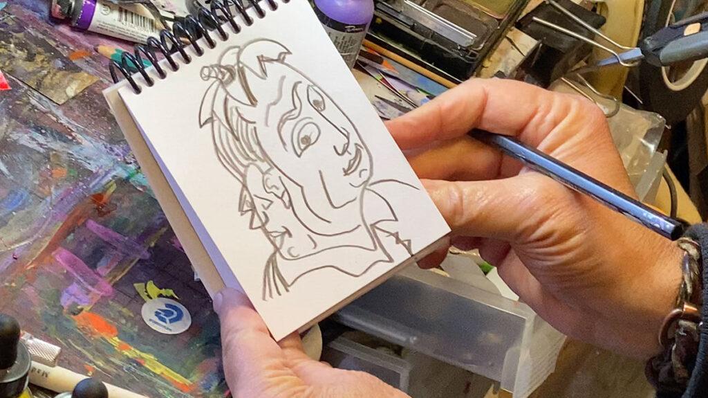 drawing in sketchbook