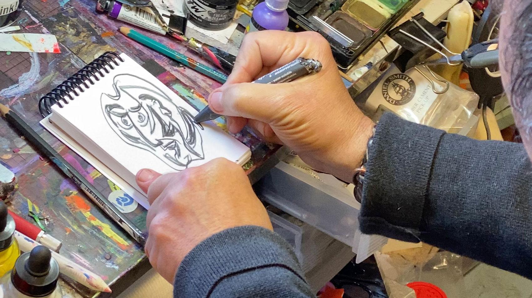 graphite drawing Dick Crispo