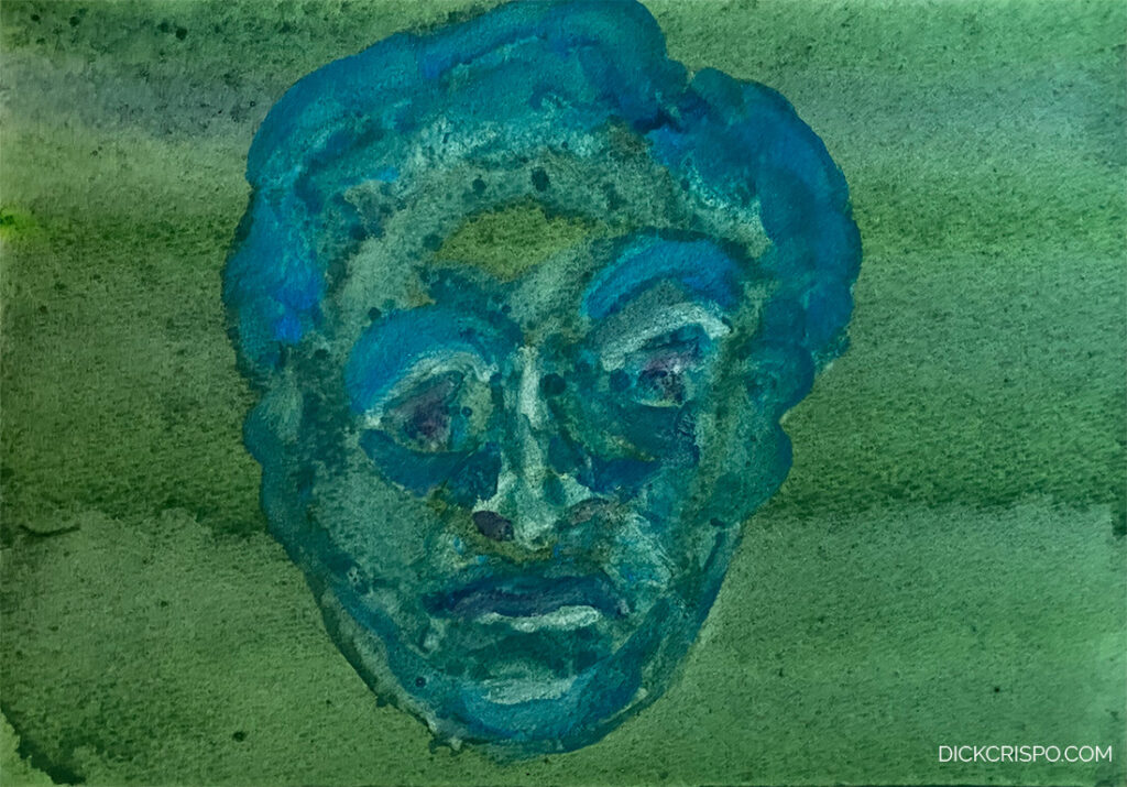 watercolor painting monochromatic head 2388 Dick Crispo