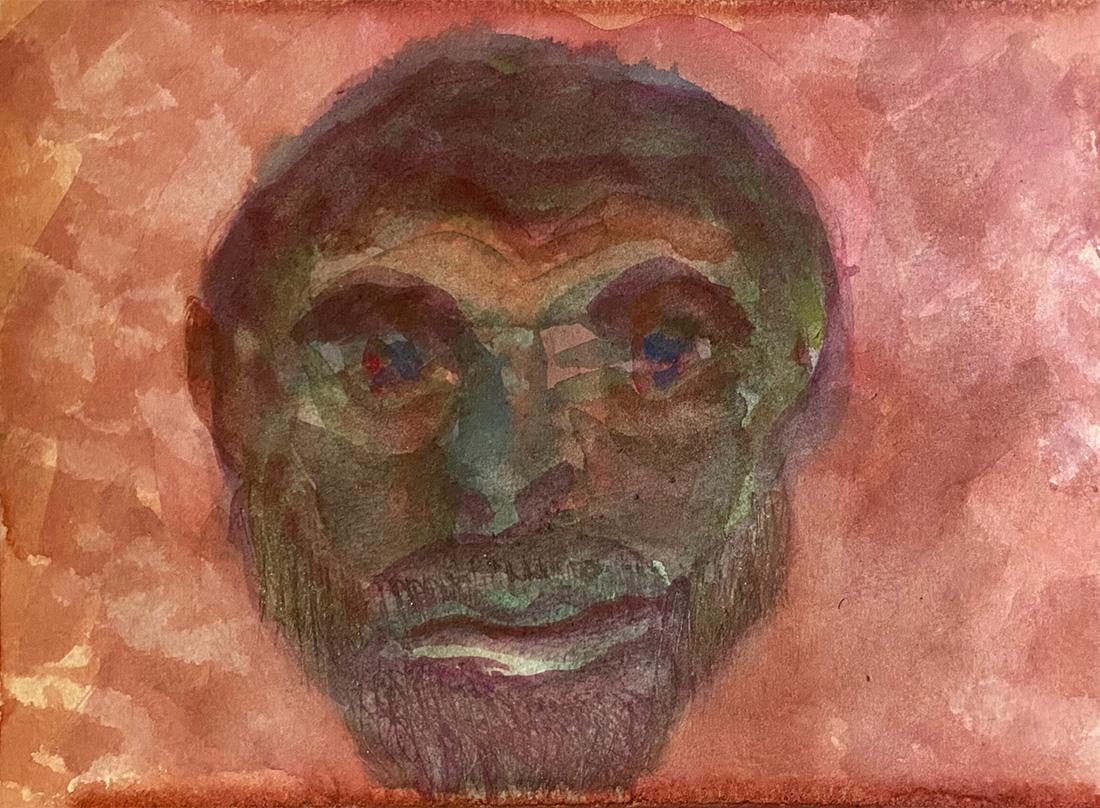 watercolor painting monochromatic head 2386 Dick Crispo