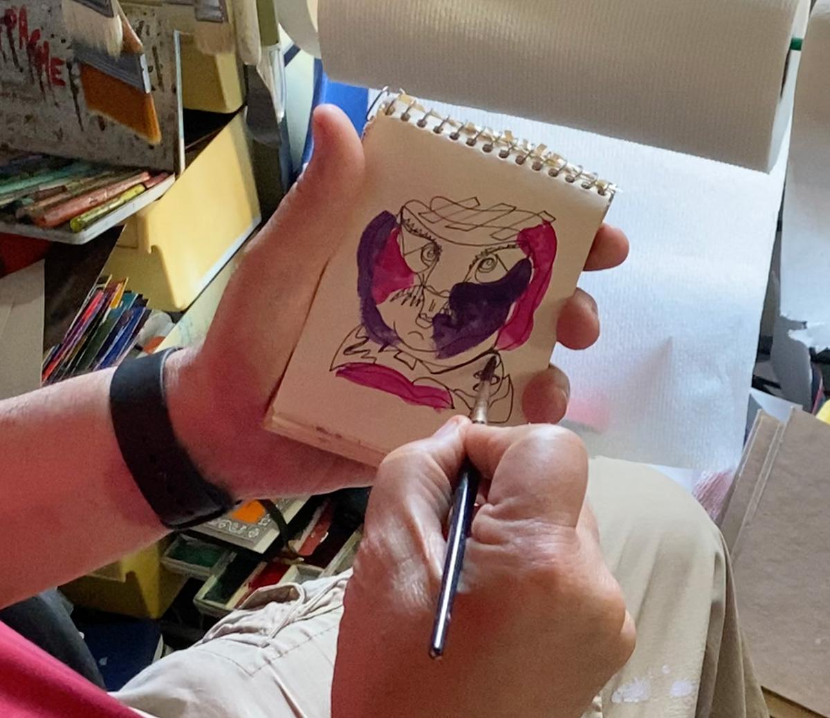 Dick Crispo watercolor and ink color sketch